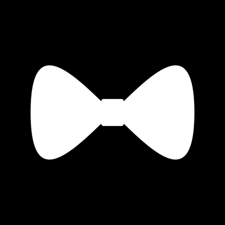 prom: Vector Black Bow Tie icon. White on the black