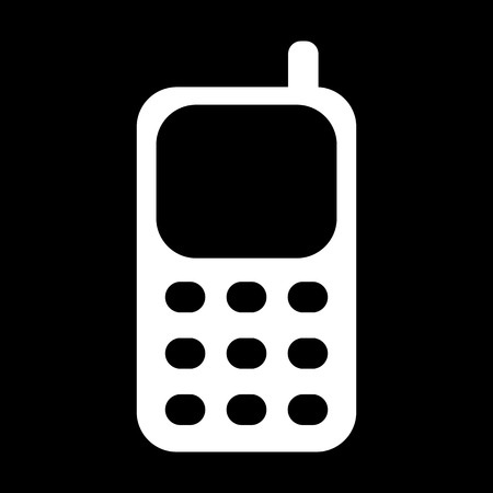 Vector - Cell Phone Icon. White on the black