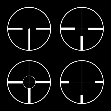 sharpshooter: Crosshairs icons. Vector. White on the black