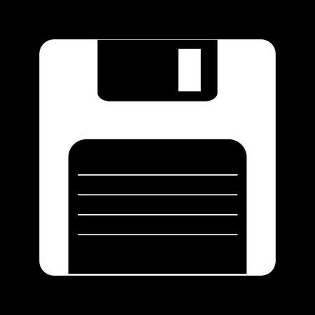 old pc: Floppy disk  Vector icon. White on the black