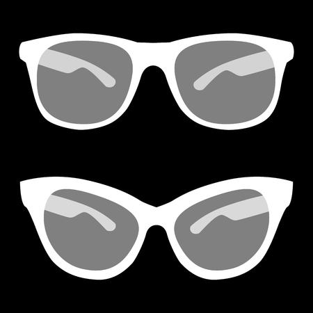 tinted glasses: Vector illustration of stylish sunglasses. White on the black