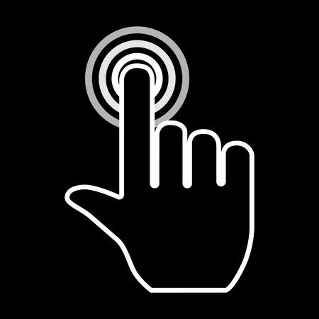 white pointer: Hand pointer icon. White on the black