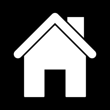 Icona Home Bianco. Bianco sul nero Archivio Fotografico - 50199804