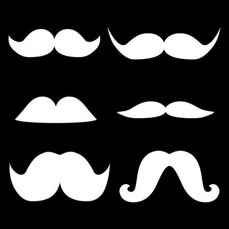 Set of moustaches icon. White on the black