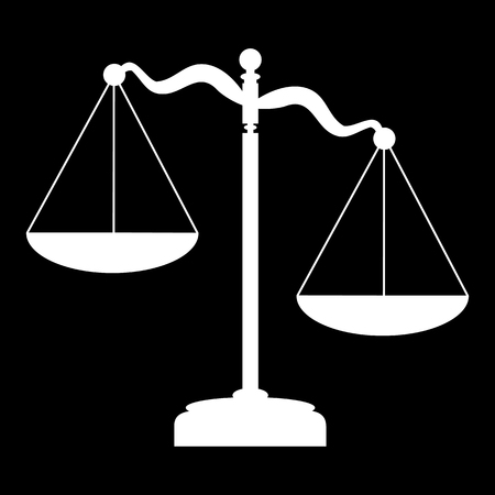 criminal justice: Scales of Justice. White on the black Illustration