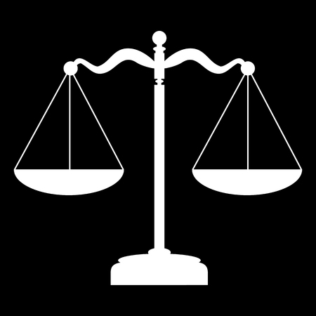 balanza en equilibrio: Escalas icono de la balanza. Ilustración del vector. Blanco en el negro Vectores