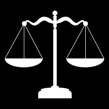 Wagi ikonę balansu. ilustracji wektorowych. Białe na czarnym Ilustracje wektorowe