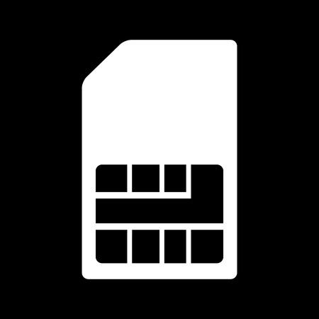 sim card: Sim card icon. White on the black
