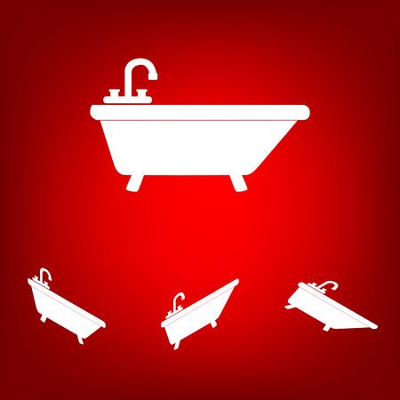 bathtub: Bathtub Icon set. Isometric effect. White on the red