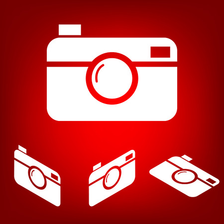 whim of fashion: Digital camera icon set. Isometric effect. White on the red Illustration
