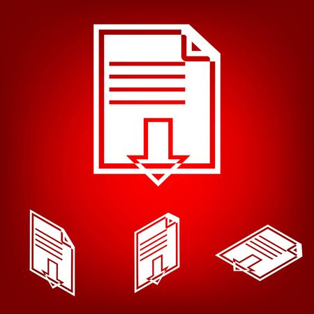 iconset: File download iconset. Isometric effect. White on the red