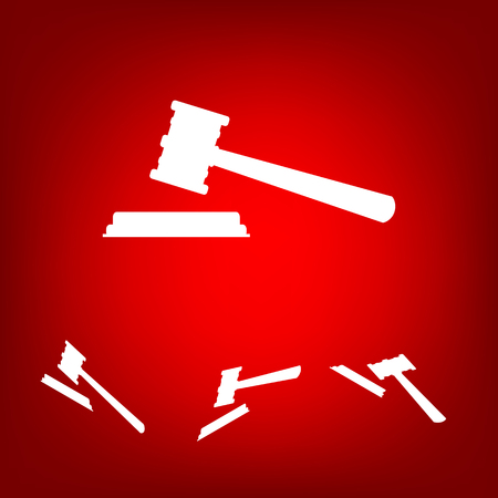 auctioneer: Justice hammer vector icon  set. Isometric effect