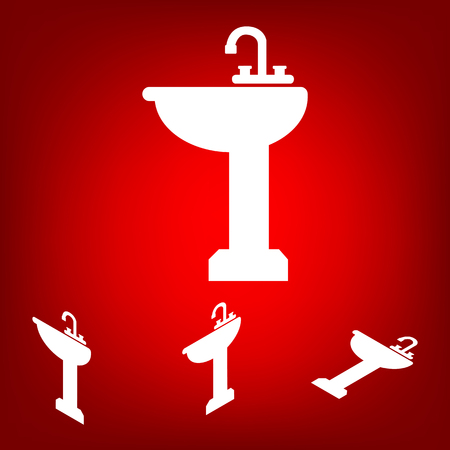 necessity: Bathroom sink  set. Isometric effect. White on the red