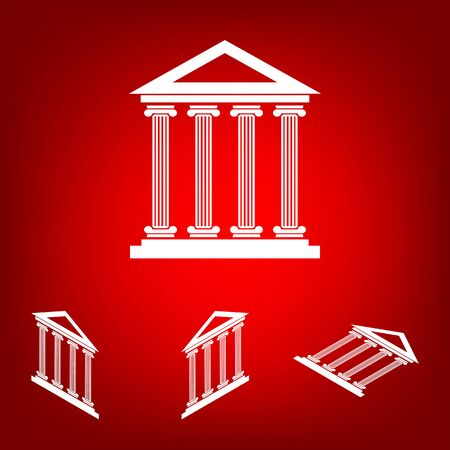 historical building: Historical building icon, vector set. Isometric effect. White on the red