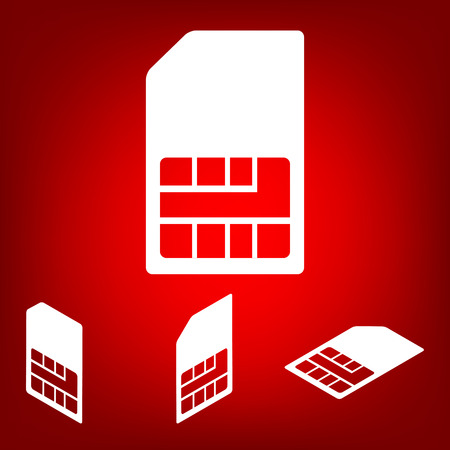 Sim card icon  set. Isometric effect. White on the red
