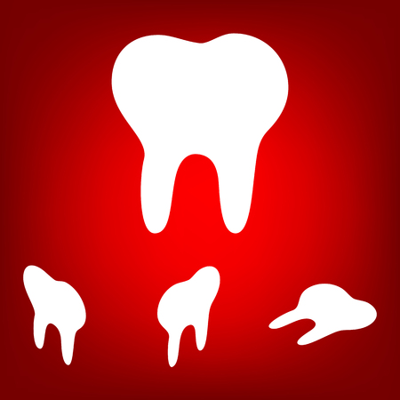 toothcare: Tooth Icon  set. Isometric effect. White on the red