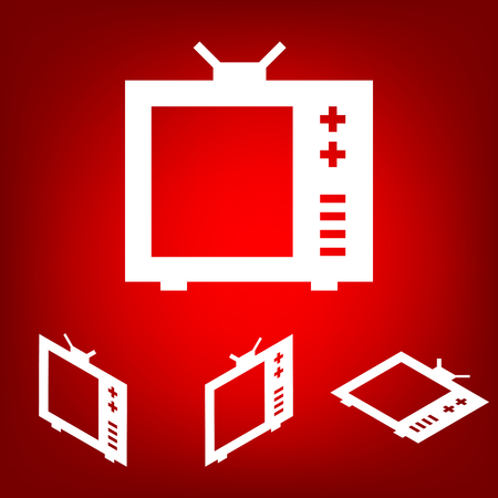 tvset: TV vector icon  set. Isometric effect. White on the red