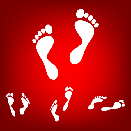 commit: Foot prints. Vector illustration  set. Isometric effect. White on the red Illustration