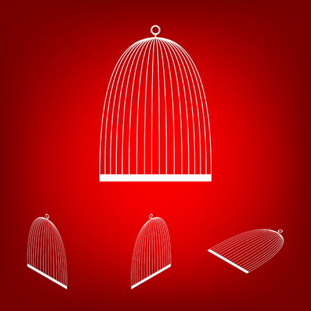 captivity: Bird cage  set. Isometric effect. White on the red