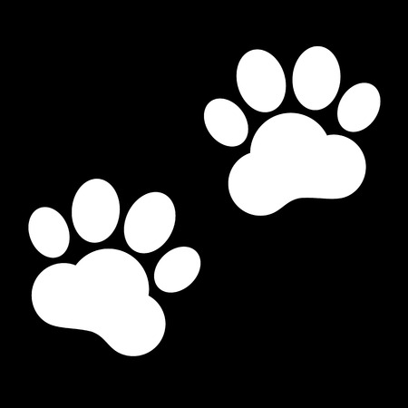 huellas de animales: Huellas de animales. Ilustraci�n del vector. Blanco en el negro