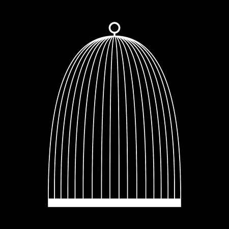 caged: Bird cage icon. White on the black Illustration