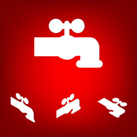 spew: The water faucet icon  set. Isometric effect. White on the red Illustration