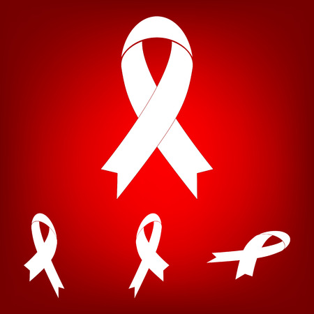 substance abuse awareness: Awareness ribbon  set. Isometric effect. White on the red