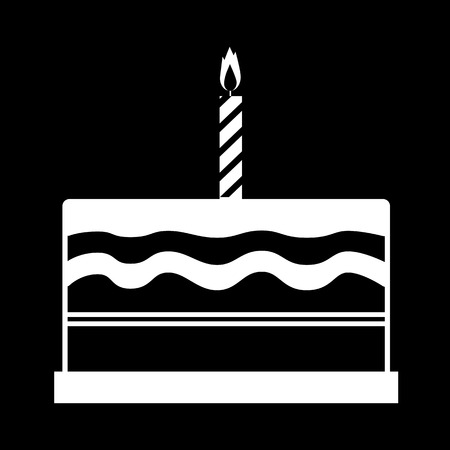 Birthday Cake Icon White On The Black Royalty Free Cliparts