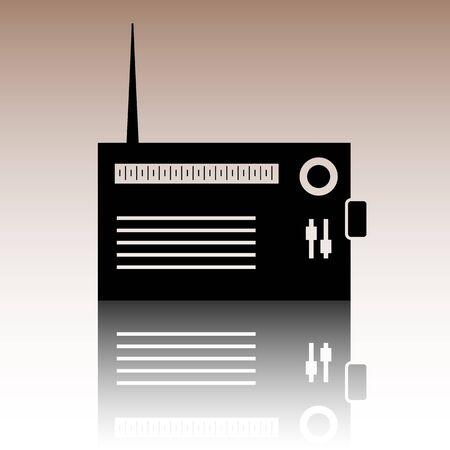 shortwave: Radio silhouette. Black vector illustration with reflection.