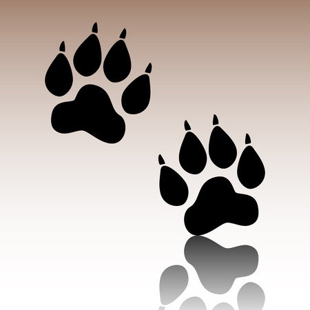 animal tracks: Animal Tracks. Black vector illustration with reflection.