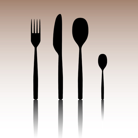 dinner party table: Fork spoon knife. Black vector illustration with reflection.