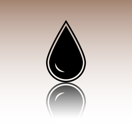 refuel: Drop of water. Black vector illustration with reflection.