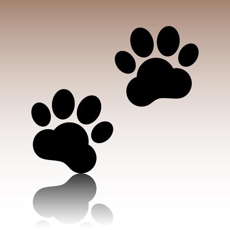 huellas de animales: Pistas animales firman. ilustraci�n vectorial negro con la reflexi�n.