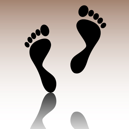 foot prints: Foot prints. Black vector illustration with reflection. Illustration