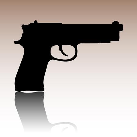 pistol: Gun icon. Black vector illustration with reflection.