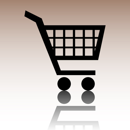 purchases: Shopping cart icons for online purchases. Black vector illustration with reflection. Illustration