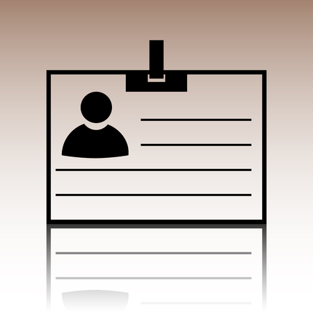 recognizing: Id card icon. Black vector illustration with reflection.