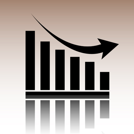 declining: Vector declining graph icon. Black vector illustration with reflection. Illustration