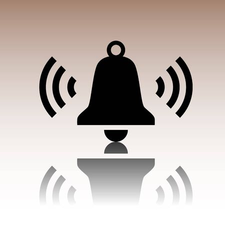 door bell: Ringing bell icon. Black vector illustration with reflection. Illustration