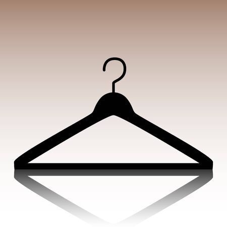 Hanger icon. Black vector illustration with reflection.
