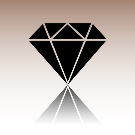 spoil: Diamond icon. Black vector illustration with reflection. Illustration