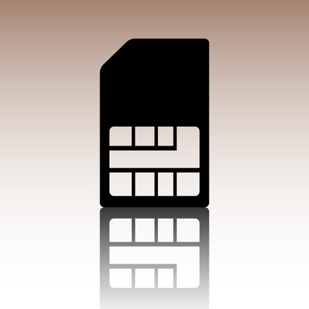 prepaid: Sim card icon. Black vector illustration with reflection.
