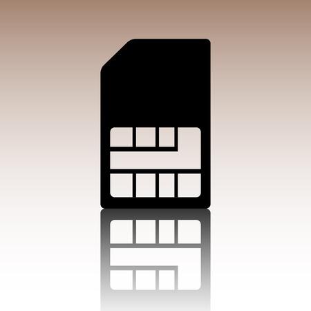 sim card: Sim card icon. Black vector illustration with reflection.