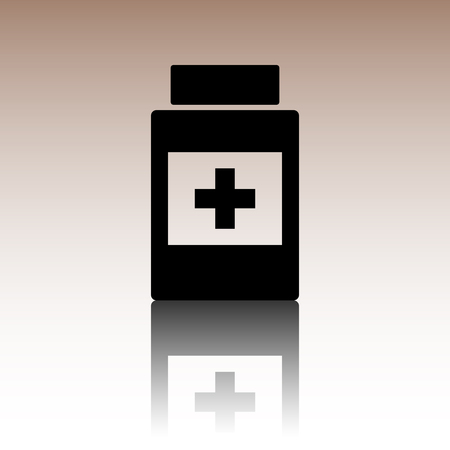 placebo: Medical container icon. Black vector illustration with reflection.