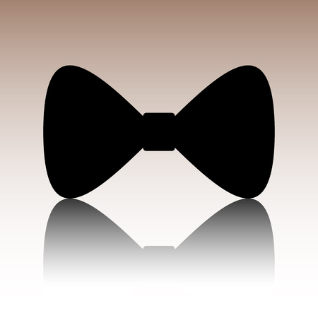 black bow: Vector Black Bow Tie icon. Black vector illustration with reflection. Illustration