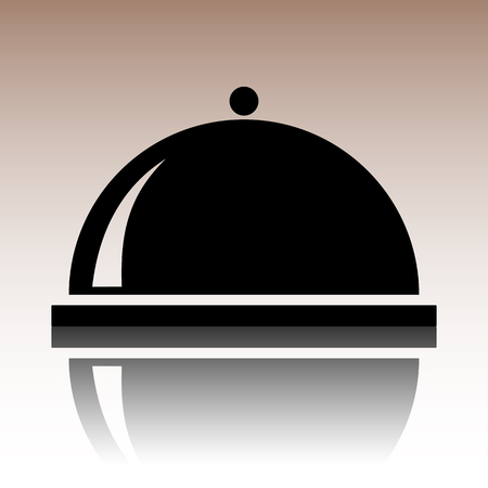 reflection: Black Server icon. Vector illusstration with reflection