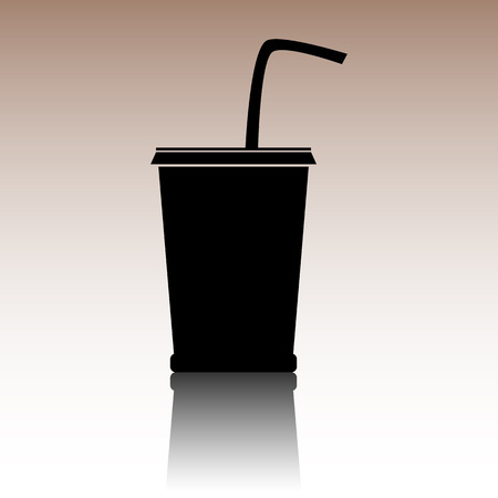coke: Black Drink icon. Vector illusstration with reflection