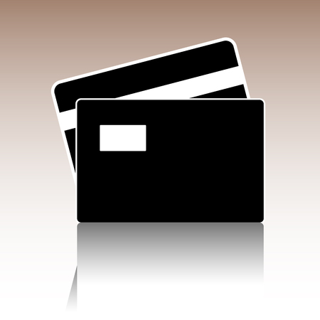 transact: Credit Card Icon. Vector illusstration with reflection Illustration