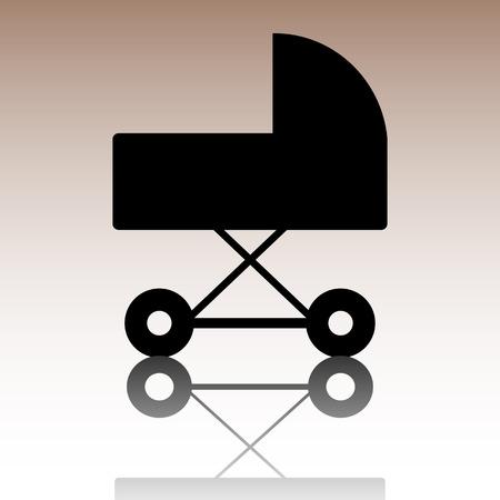 pram: Pram sign icon. Vector illusstration with reflection