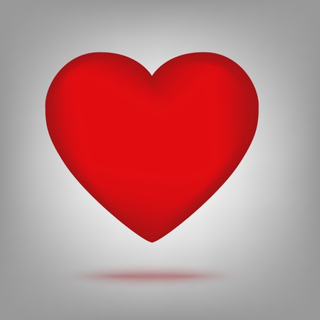 romantic heart: Red heart icon illustration with shadow. Vector Stock Photo